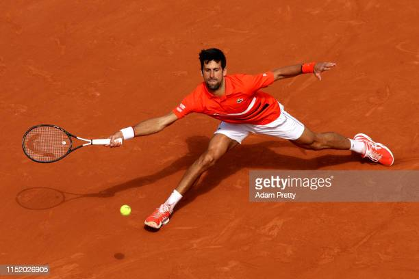 Novak Djokovic of Serbia plays a forehand during his mens singles first round match against Hubert Hurkacz of Poland during Day two of the 2019...