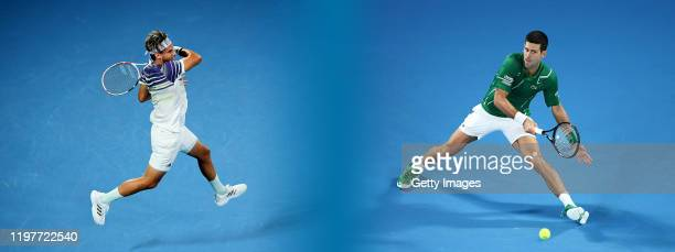 COMPOSITE OF IMAGES Image numbers 12031360011200701567 GRADIENT ADDED In this composite image a comparison has been made between Dominic Thiem of...