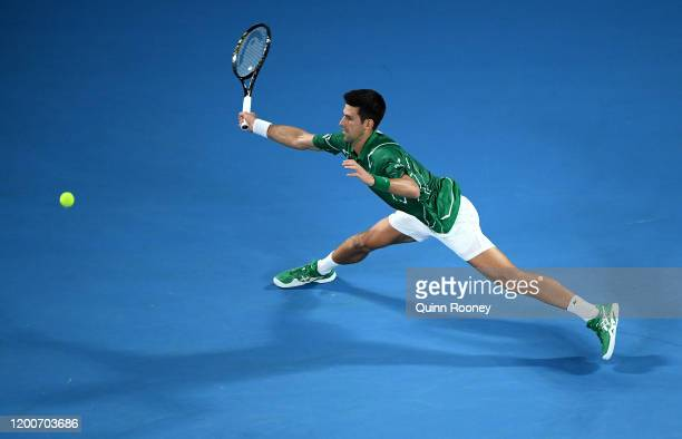 Novak Djokovic of Serbia plays a forehand during his Men's Singles first round match against Jan-Lennard Struff of Germany on day one of the 2020...