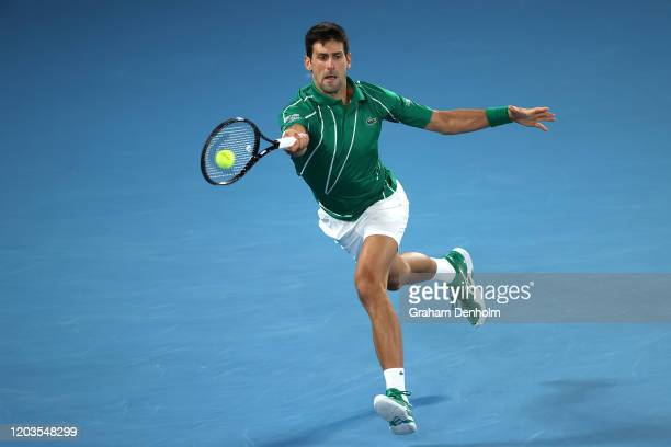 Novak Djokovic of Serbia plays a forehand during his Men's Singles Final match against Dominic Thiem of Austria on day fourteen of the 2020...