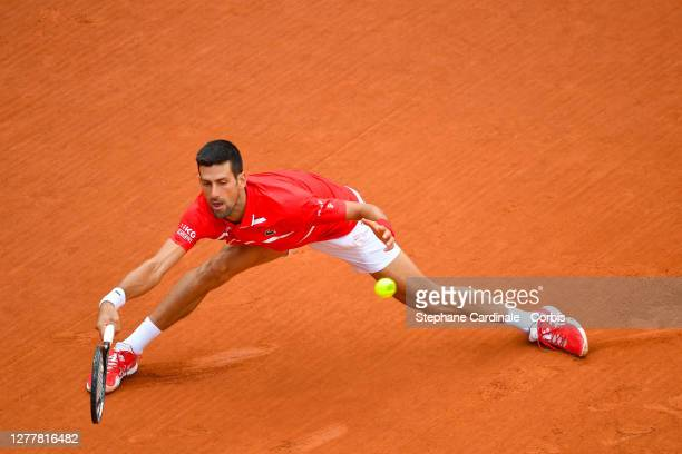Novak Djokovic of Serbia plays a forehand during his Men's Singles second round match against Ricardas Berankis of Lithuania on day five of the 2020...