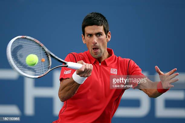 Novak Djokovic of Serbia plays a forehand during his men's singles final match against Rafael Nadal of Spain on Day Fifteen of the 2013 US Open at...