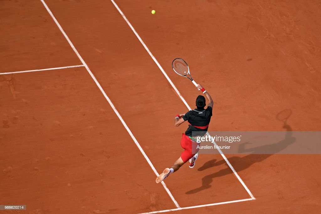 Novak Djokovic of Serbia plays a forehand during his mens singles fourth round match against Fernando Verdasco of Spain during day 8 of the 2018 French Open at Roland Garros on June 3, 2018 in Paris, France.