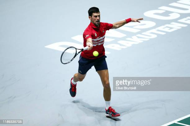 Novak Djokovic of Serbia plays a forehand during his quarter final singles match against Karen Khachanov of Russia on Day Five of the 2019 Davis Cup...