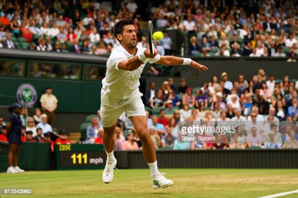 Novak Djokovic of Serbia plays a forehand during the Gentlemen's Singles fourth round match against Adrian Mannarino of France on day eight of the...