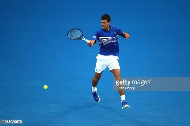 Novak Djokovic of Serbia plays a forehand in his first round match against Mitchell Krueger of the United States during day two of the 2019...