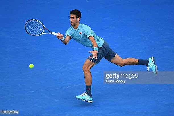 Novak Djokovic of Serbia plays a forehand in his first round match against Fernando Verdasco of Spain on day two of the 2017 Australian Open at...