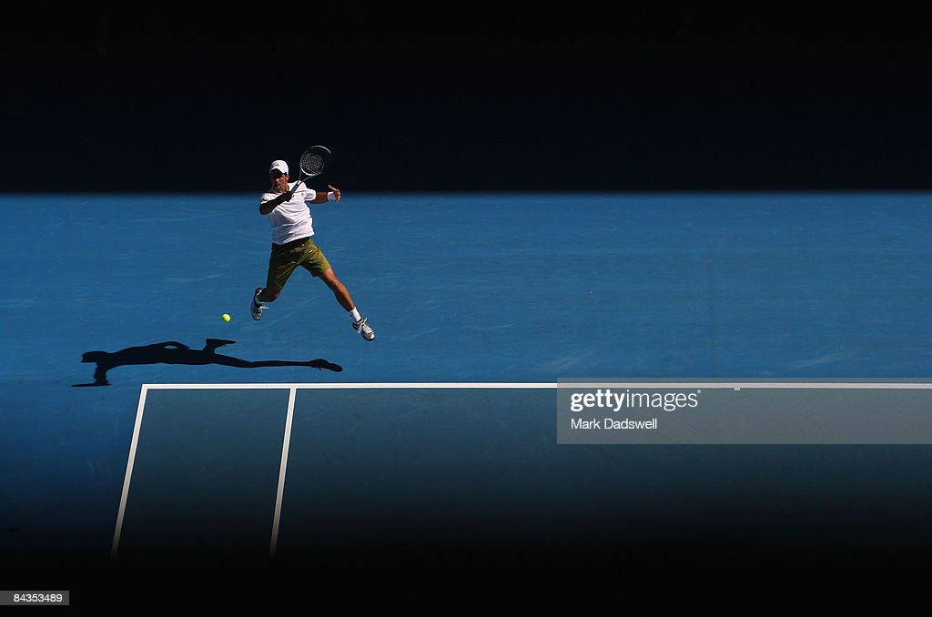 Novak Djokovic of Serbia plays a forehand in his first round match against Andrea Stoppini of Italy during day one of the 2009 Australian Open at Melbourne Park on January 19, 2009 in Melbourne, Australia.
