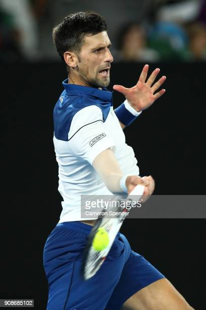 Novak Djokovic of Serbia plays a forehand in his fourth round match against Hyeon Chung of South Korea on day eight of the 2018 Australian Open at...