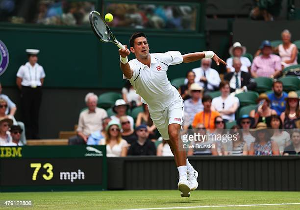 Novak Djokovic of Serbia plays a forehand in his Gentlemens Singles Second Round match against Jarkko Nieminen of Finland during day three of the...