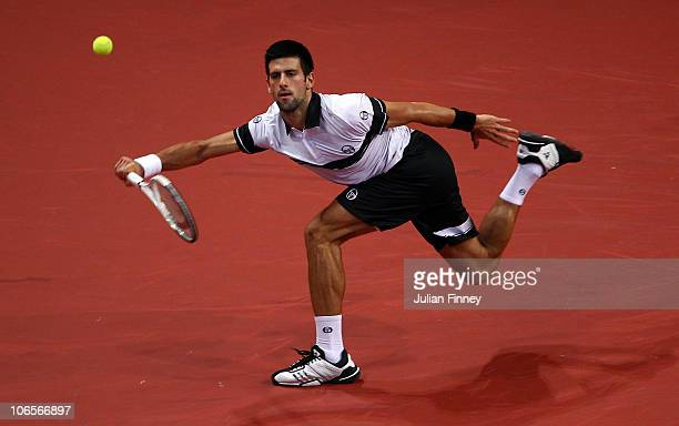 Novak Djokovic of Serbia plays a forehand in his match against Robin Haase of Holland during Day Five of the Davidoff Swiss Indoors Tennis at St...