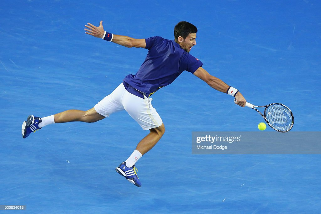 Novak Djokovic of Serbia plays a forehand in his quarter final match against Kei Nishikori of Japan during day nine of the 2016 Australian Open at Melbourne Park on January 26, 2016 in Melbourne, Australia.