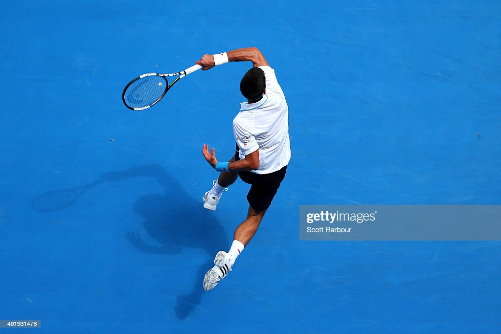 Novak Djokovic of Serbia plays a forehand in his second round match against Andrey Kuznetsov of Russia during day four of the 2015 Australian Open at Melbourne Park on January 22, 2015 in Melbourne, Australia.