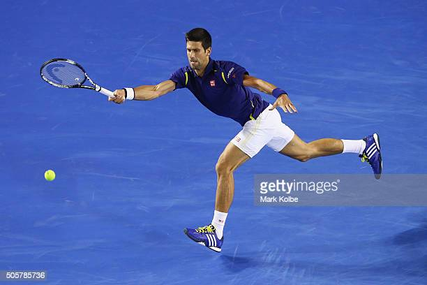 Novak Djokovic of Serbia plays a forehand in his second round match against Quentin Halys of France during day three of the 2016 Australian Open at...