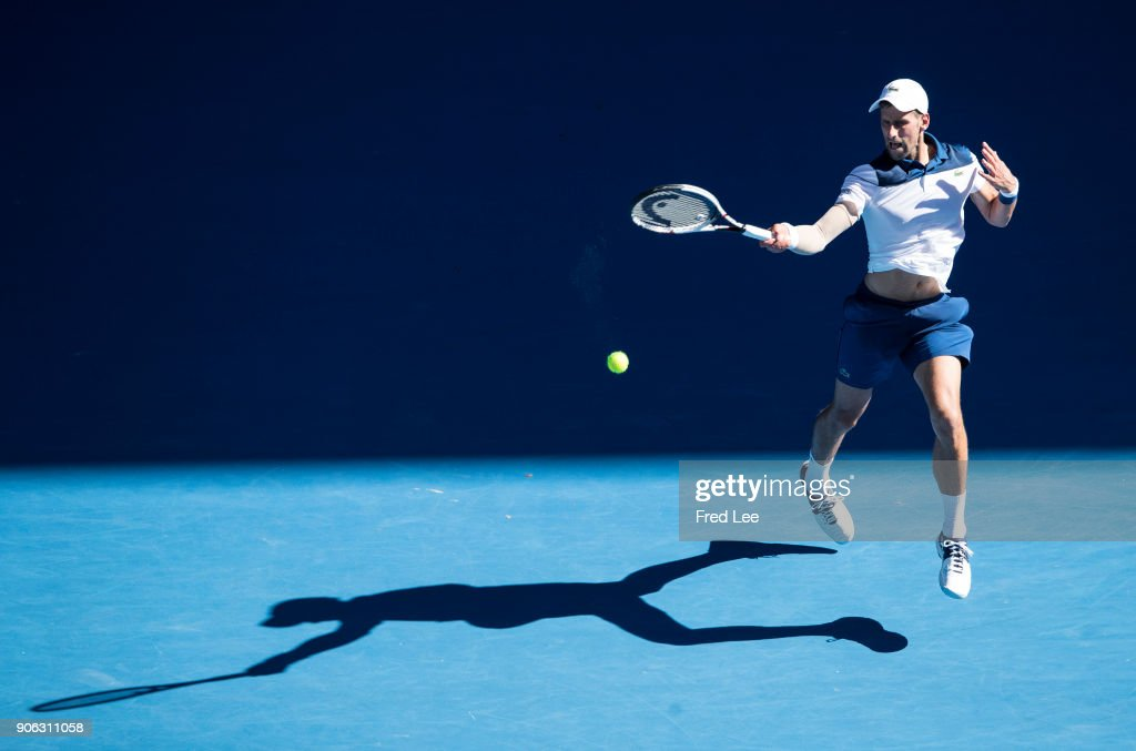 Novak Djokovic of Serbia plays a forehand in his second round match against Gael Monfils of France on day four of the 2018 Australian Open at Melbourne Park on January 18, 2018 in Melbourne, Australia.