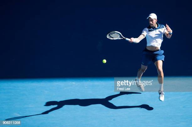 Novak Djokovic of Serbia plays a forehand in his second round match against Gael Monfils of France on day four of the 2018 Australian Open at...
