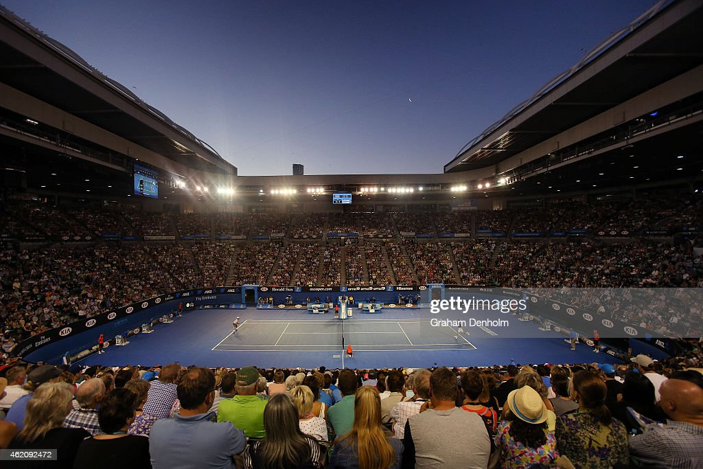 Novak Djokovic of Serbia plays a forehand in his third round match against Fernando Verdasco of Spain during day six of the 2015 Australian Open at Melbourne Park on January 24, 2015 in Melbourne, Australia.