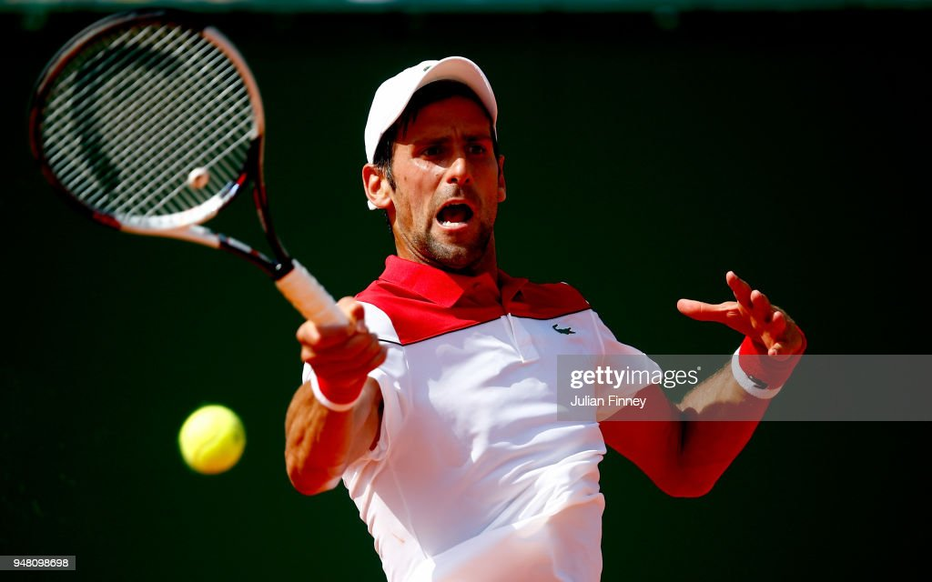 Novak Djokovic of Serbia plays a forehand return during his Mens Singles match against Borna Coric of Croatia at Monte-Carlo Sporting Club on April 18, 2018 in Monte-Carlo, Monaco.