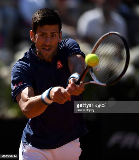 Novak Djokovic of Serbia plays a shot against Alexander Zverev of Germany during the final of The Internazionali BNL d'Italia 2017 at Foro Italico on...