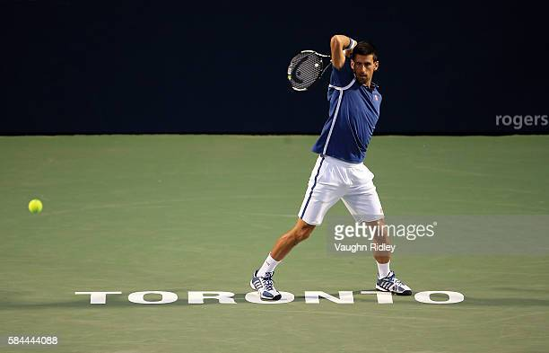 Novak Djokovic of Serbia plays a shot against Radek Stepanek of Czech Republic during Day 4 of the Rogers Cup at the Aviva Centre on July 28 2016 in...