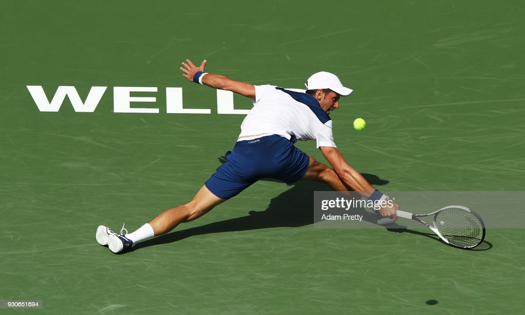 Novak Djokovic of Serbia plays a shot during his match against Taro Daniel of Japan during the BNP Paribas Open at the Indian Wells Tennis Garden of the Czech Republic on March 11, 2018 in Indian Wells, California.