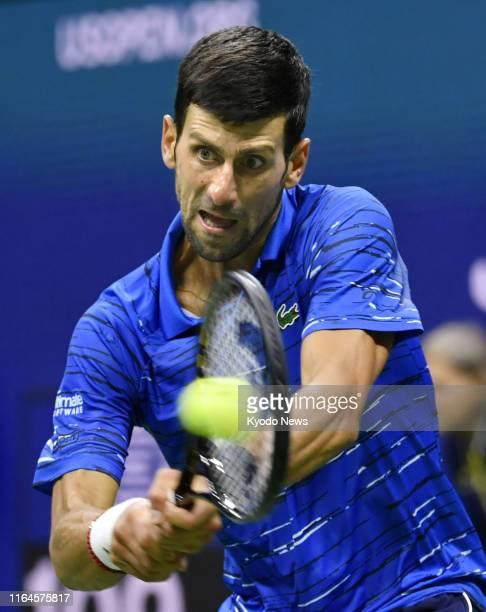 Novak Djokovic of Serbia plays Argentina's Juan Ignacio Londero in the second round of the US Open tennis tournament in New York on Aug 28 2019...