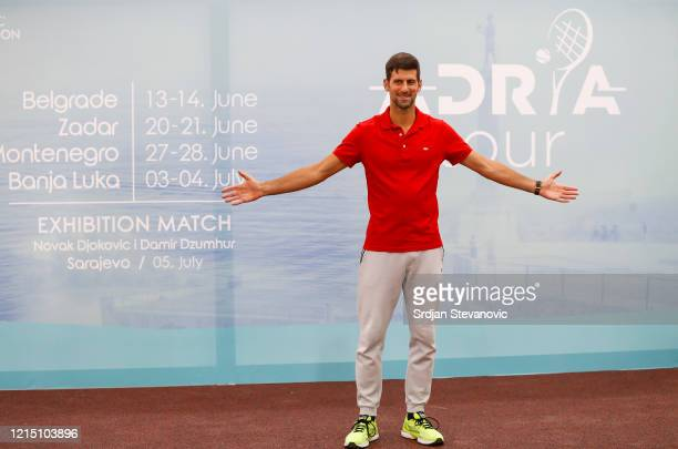 Novak Djokovic of Serbia pose for a photo at a news conference on the upcoming Adria Tour tennis tournament at Novak Tennis Centre on May 25 2020 in...