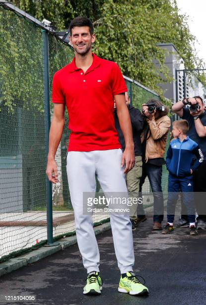 Novak Djokovic of Serbia pose for a photo prior to the news conference on the upcoming Adria Tour tennis tournament at Novak Tennis Centre on May 25...
