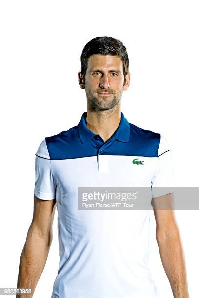 Novak Djokovic of Serbia poses for portraits during the Australian Open at Melbourne Park on January 13 2018 in Melbourne Australia