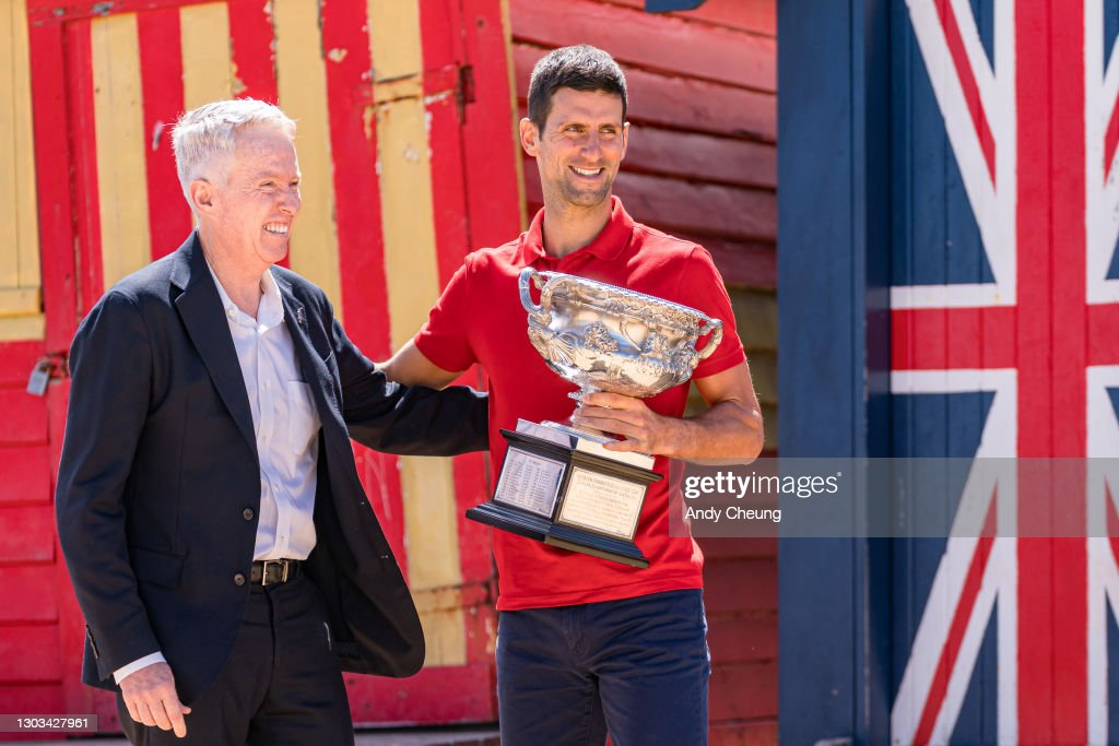 2021 Australian Open Men's Trophy Media Opportunity : News Photo