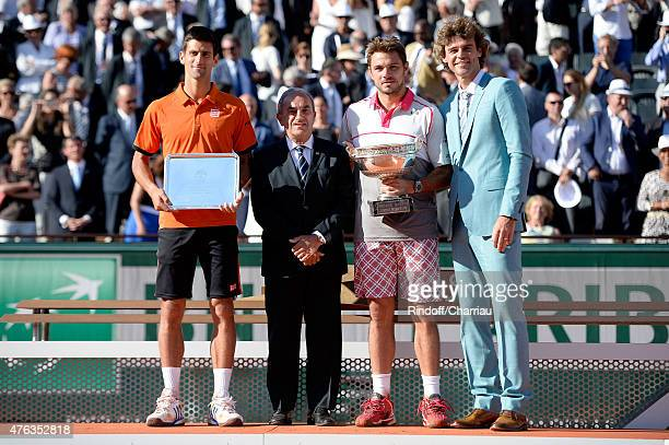 Novak Djokovic of Serbia, President of the French Tennis Federation , Jean Gachassin, Stanislas Wawrinka of Switzerland and Gustavo Kuerten pose on...