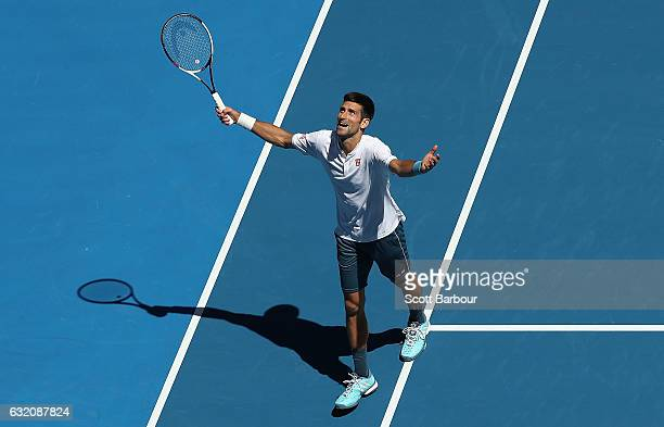 Novak Djokovic of Serbia reacts after losing a point in his second round match against Denis Istomin of Uzbekistan on day four of the 2017 Australian...