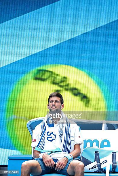 Novak Djokovic of Serbia reacts after losing a set in his second round match against Denis Istomin of Uzbekistan on day four of the 2017 Australian...