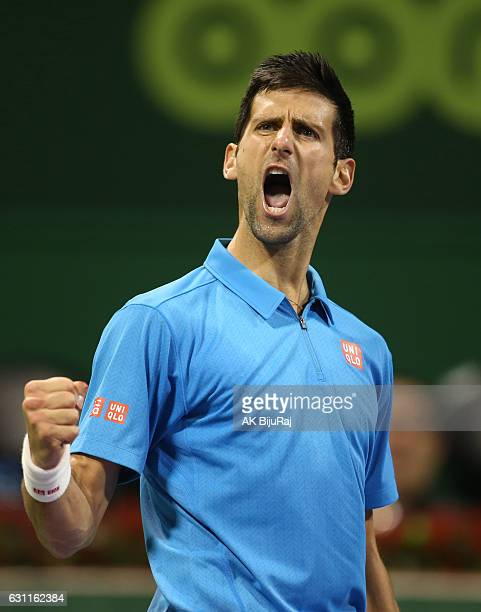 Novak Djokovic of Serbia reacts after winning a point against ion held at the Khalifa International Tennis Complex on January 7 2017 in Doha Qatar