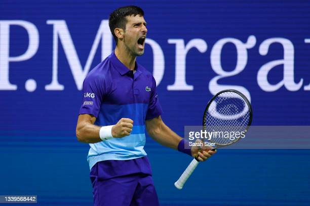 Novak Djokovic of Serbia reacts as he plays against Alexander Zverev of Germany during their Men's Singles semifinal match on Day Twelve of the 2021...