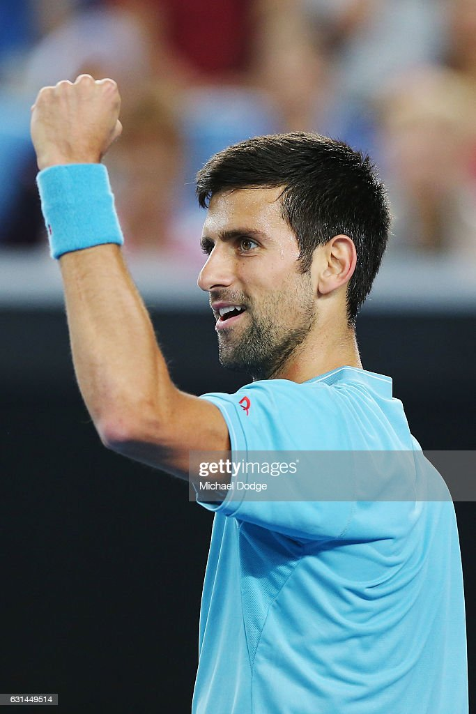 Novak Djokovic of Serbia reacts during 'A Night with Novak' at Margaret Court Arena on January 11, 2017 in Melbourne, Australia.