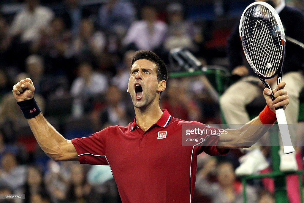 Novak Djokovic of Serbia reacts during his match against David Ferrer of Spain during the day 6 of the Shanghai Rolex Masters at the Qi Zhong Tennis Center on October 10, 2014 in Shanghai, China.