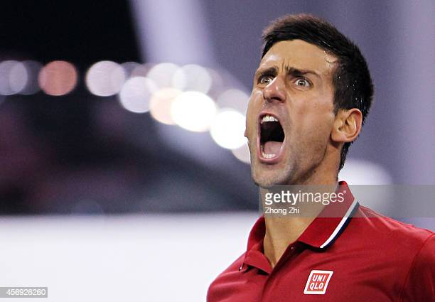 Novak Djokovic of Serbia reacts during his match against Mikhail Kukushkin of Kazakhstan during the day 5 of the Shanghai Rolex Masters at the Qi...