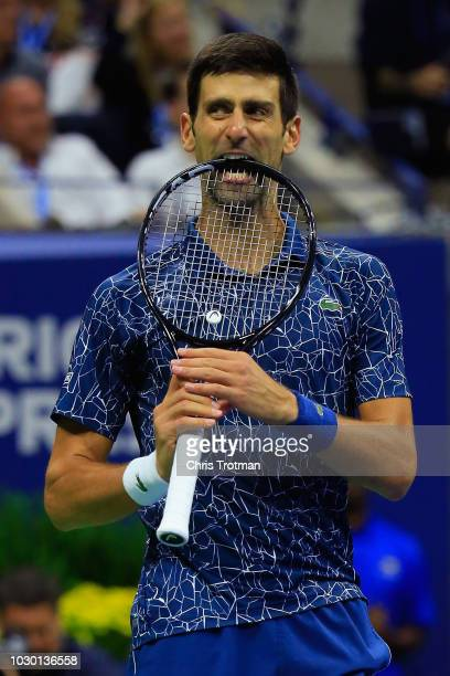 Novak Djokovic of Serbia reacts during his Men's Singles final match against Juan Martin del Potro of Argentina on Day Fourteen of the 2018 US Open...