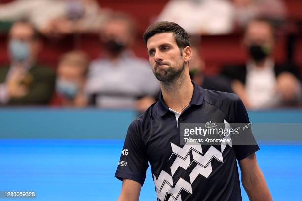 Novak Djokovic of Serbia reacts during his quarter finals match against Lorenzo Sonego of Italy on day seven of the Erste Bank Open tennis tournament...