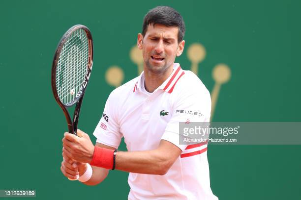 Novak Djokovic of Serbia reacts during his quarterfinal match against Daniel Evans of Great Britain during day five of the Rolex Monte-Carlo Masters...