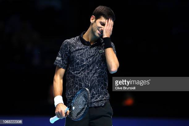 Novak Djokovic of Serbia reacts during his singles final against Alexander Zverev of Germany during Day Eight of the Nitto ATP Finals at The O2 Arena...