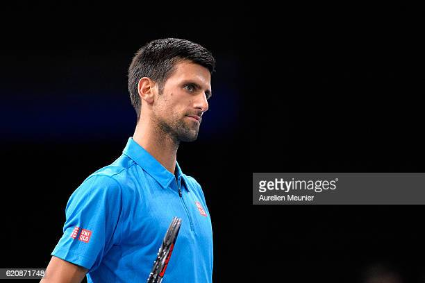 Novak Djokovic of Serbia reacts during the Men's second round match against Grigor Dimitrov of Bulgria on day three of the BNP Paribas Masters at...