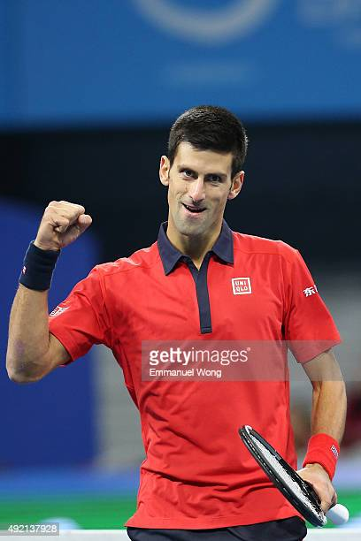 Novak Djokovic of Serbia reacts during the Men's single semifinal match against David Ferrer of Spain on day 8 of the 2015 China Open at the China...