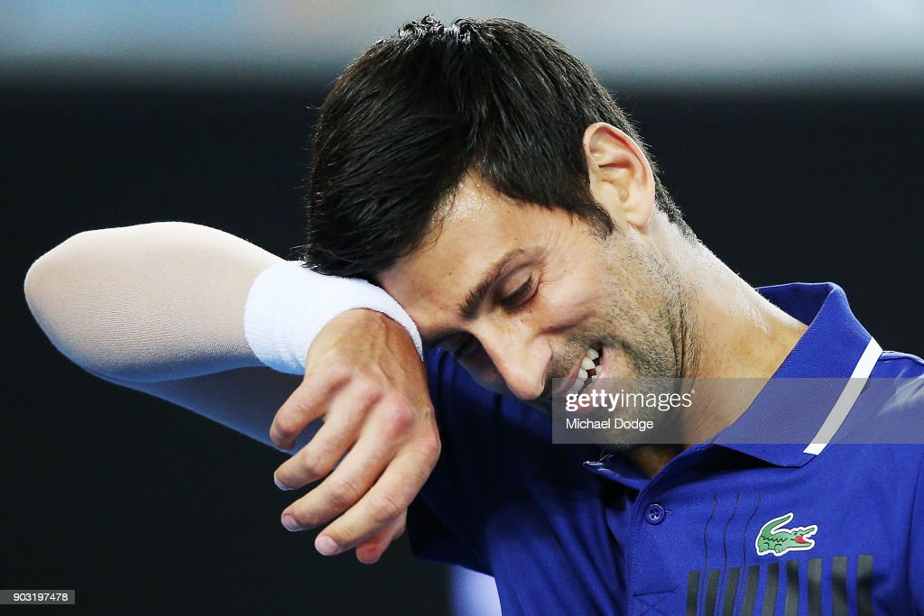 Novak Djokovic of Serbia reacts during the Tie Break Tens ahead of the 2018 Australian Open at Margaret Court Arena on January 10, 2018 in Melbourne, Australia.