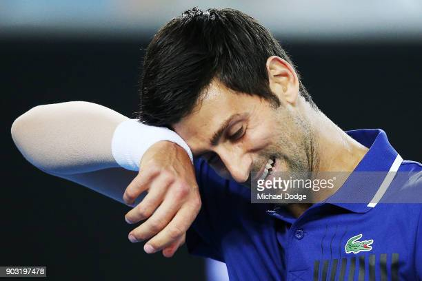 Novak Djokovic of Serbia reacts during the Tie Break Tens ahead of the 2018 Australian Open at Margaret Court Arena on January 10 2018 in Melbourne...