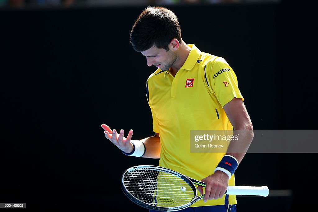 Novak Djokovic of Serbia reacts in his first round match against Hyeon Chung of Korea during day one of the 2016 Australian Open at Melbourne Park on January 18, 2016 in Melbourne, Australia.