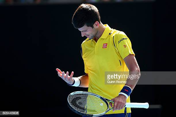 Novak Djokovic of Serbia reacts in his first round match against Hyeon Chung of Korea during day one of the 2016 Australian Open at Melbourne Park on...