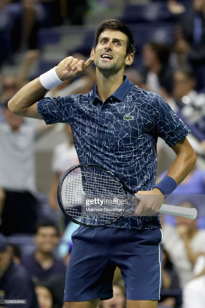 Novak Djokovic of Serbia reacts to the supporters during the men's singles third round match against RIchard Gasquet of France on Day Six of the 2018 US Open at the USTA Billie Jean King National Tennis Center on September 1, 2018 in the Flushing neighborhood of the Queens borough of New York City.