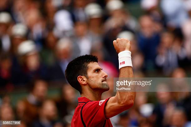 Novak Djokovic of Serbia reatcs during the Men's Singles final match against Andy Murray of Great Britain on day fifteen of the 2016 French Open at...